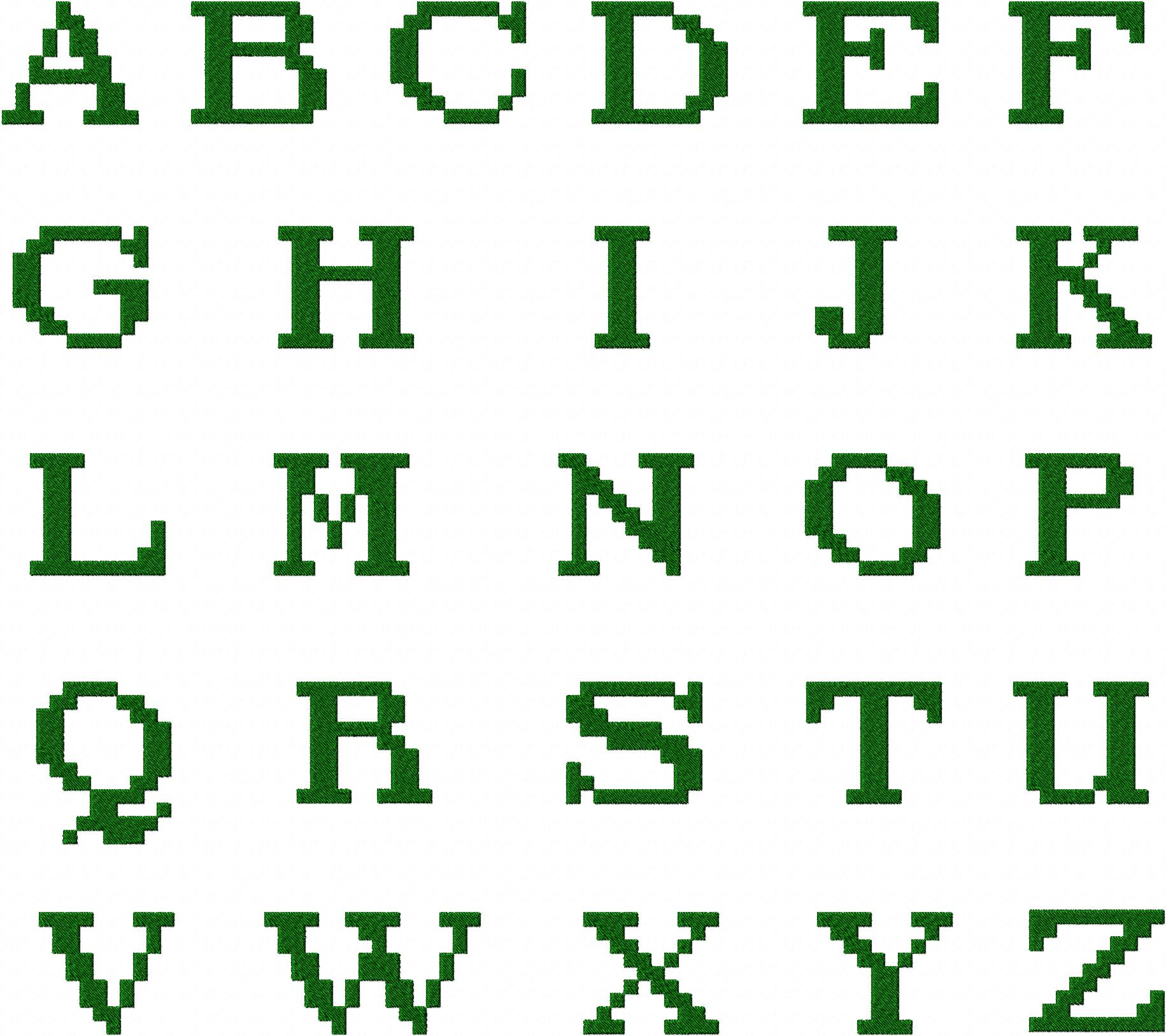 Fantasy Pixel Font Machine Embroidery Monogramming Font Set