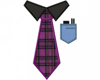 Geek Tie Applique 8 Inch