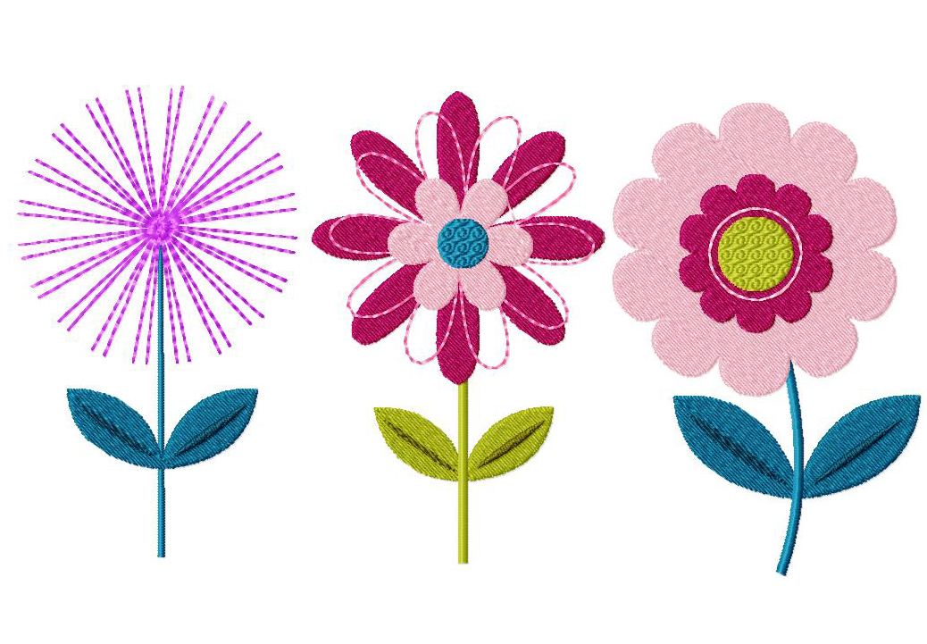 Three Pack Of Flowers Machine Stitched Embroidery Design