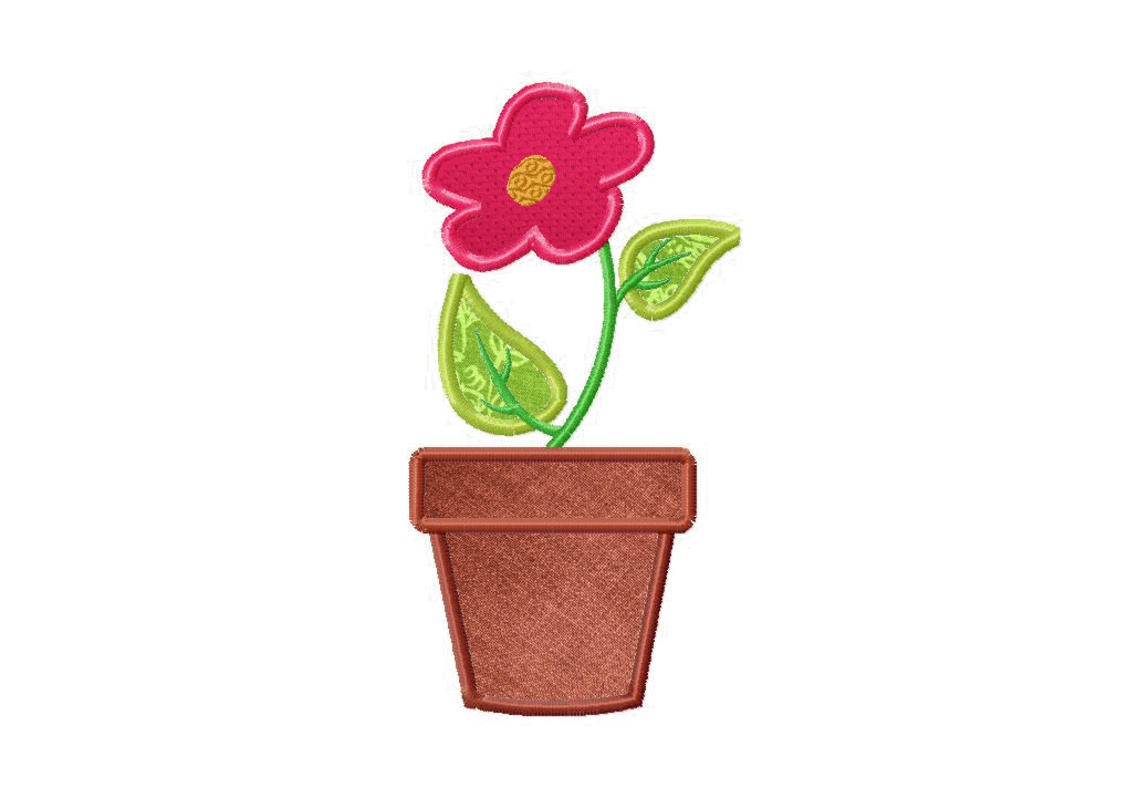 Flower Pot Machine Applique And Stitched Embroidery Design