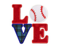 Love Baseball Applique 6X10 Hoop