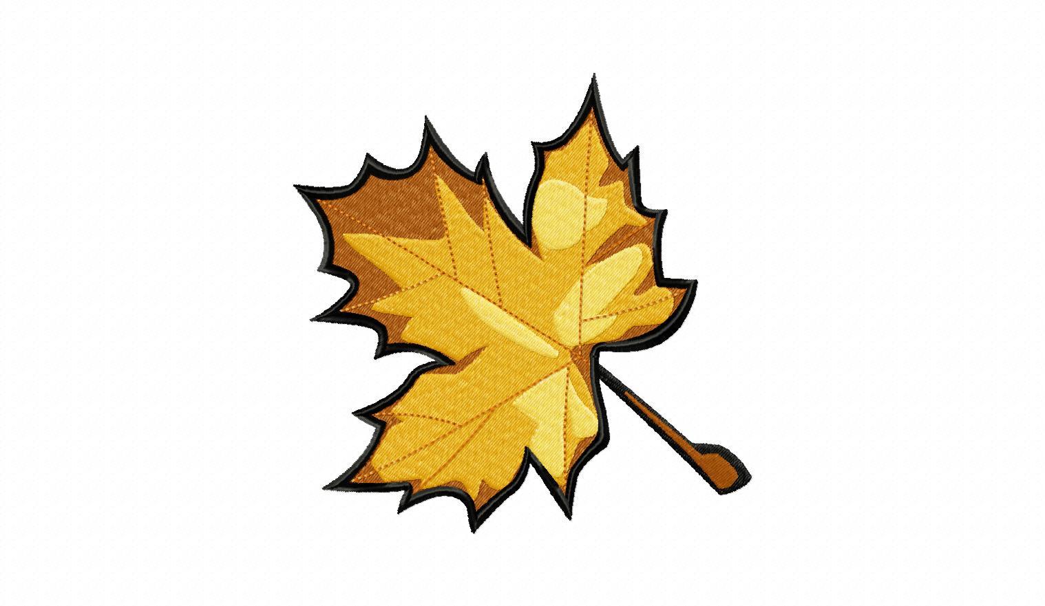 Fall maple leaf machine embroidery design