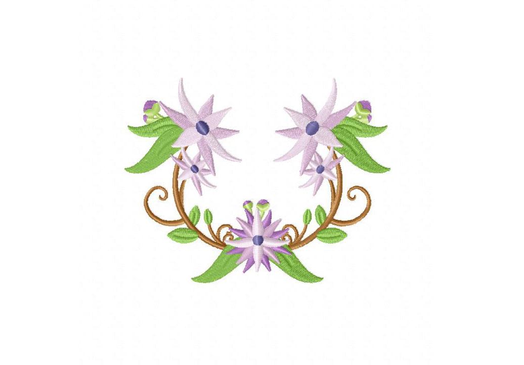 Half floral wreath machine embroidery design