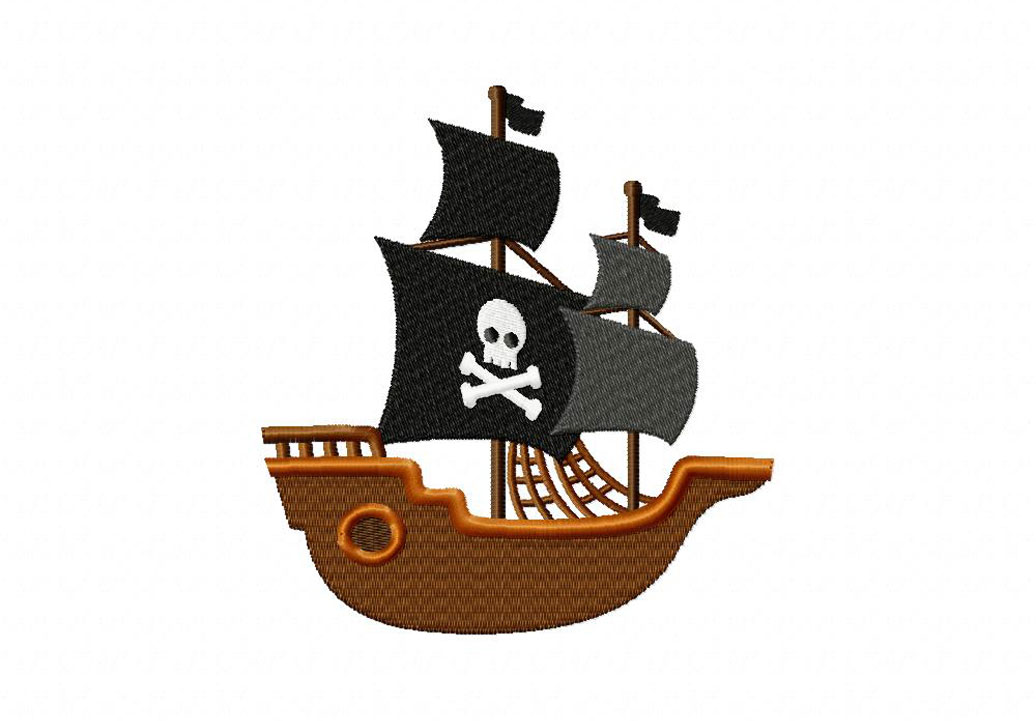 Pirate Ship Machine Embroidery Design