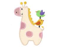 Giraffe-and-Birds-Applique-5x7-Inch
