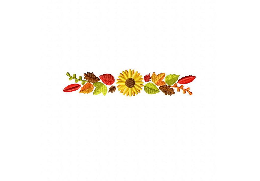 Autumn leaves border machine embroidery design
