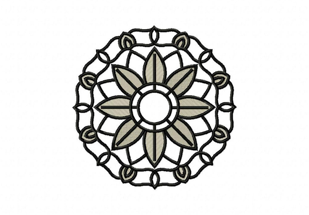 Flower Circle Line Drawing : Line art circle flower machine embroidery design