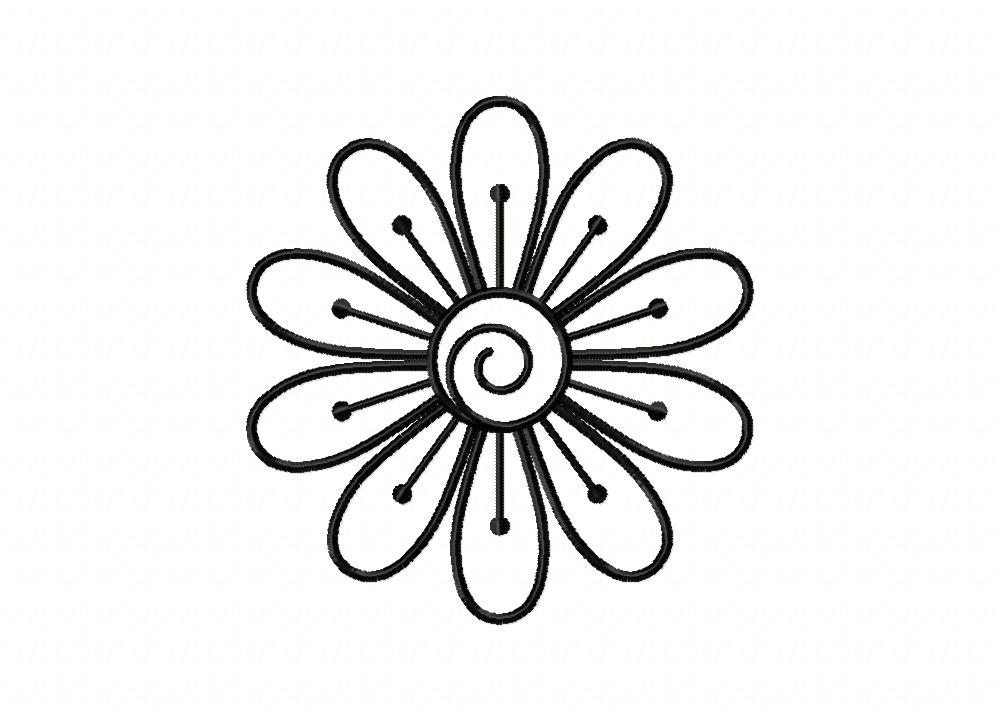 Simple flower doodle outline machine embroidery design