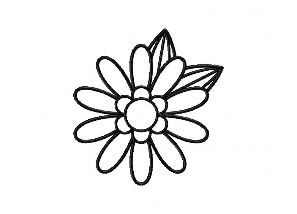 Simple Adorable Flower Doodle Outline Machine Embroidery