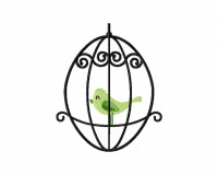 Green Bird Cage 5_5 in