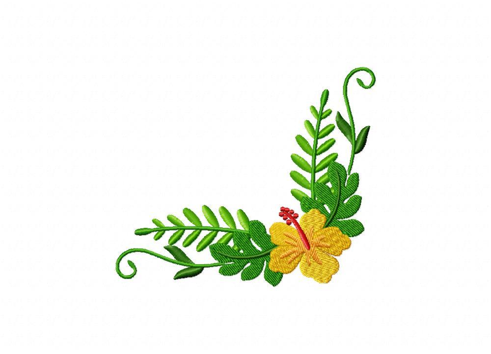 Hawaiian Yellow Flower Corner Machine Embroidery Design