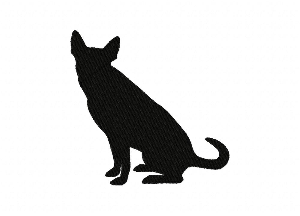 Sitting Dog Silhouette Machine Embroidery Design