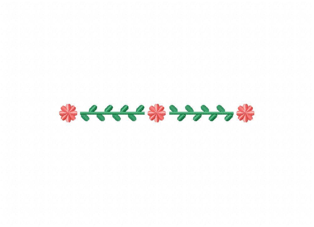 Simple flower leaf border machine embroidery design
