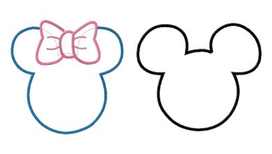 Applique disney mickey and minnie mouse ears machine for Minnie mouse ear template